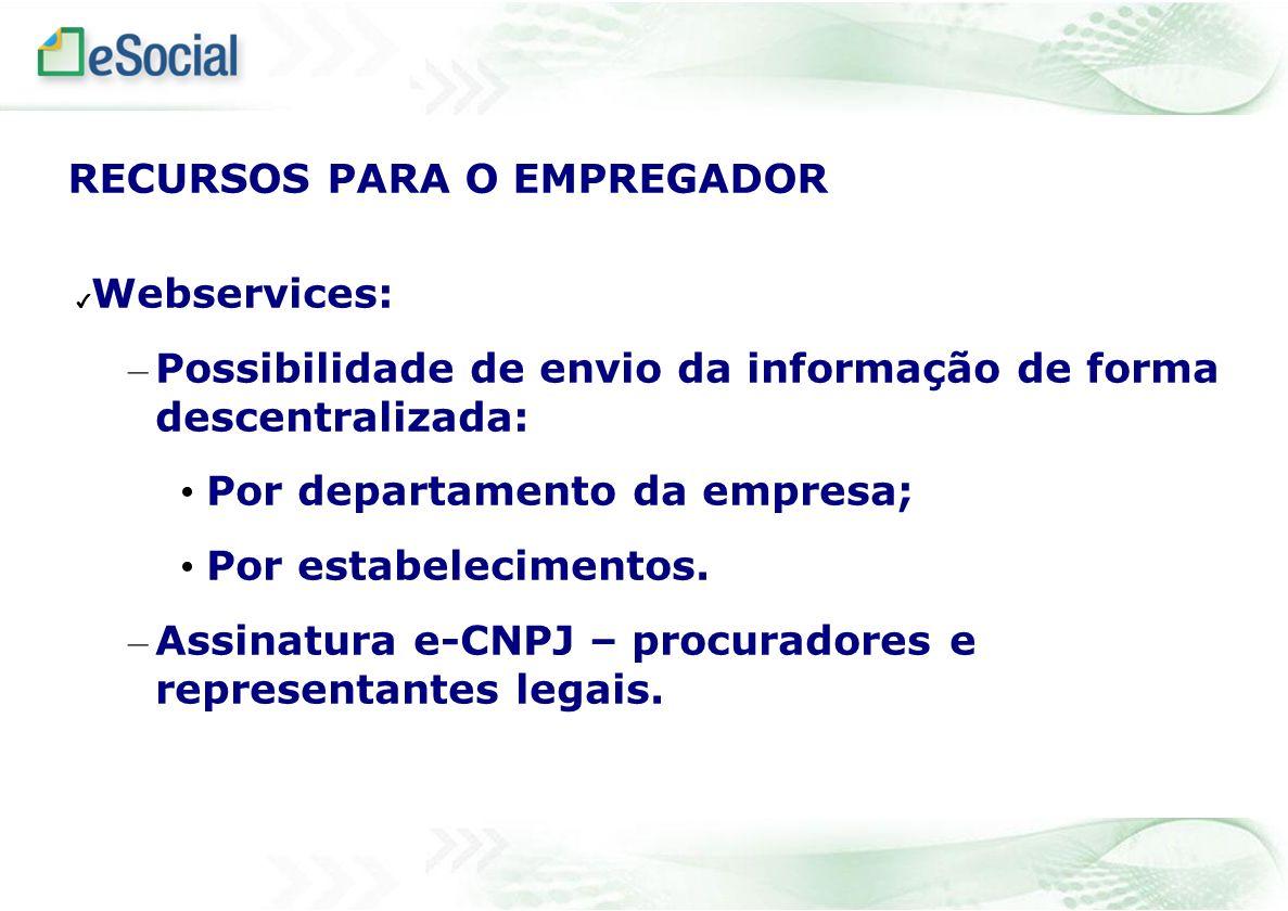 Webservices: – Possibilidade de envio da informação de forma descentralizada: Por departamento da empresa; Por estabelecimentos. – Assinatura e-CNPJ –