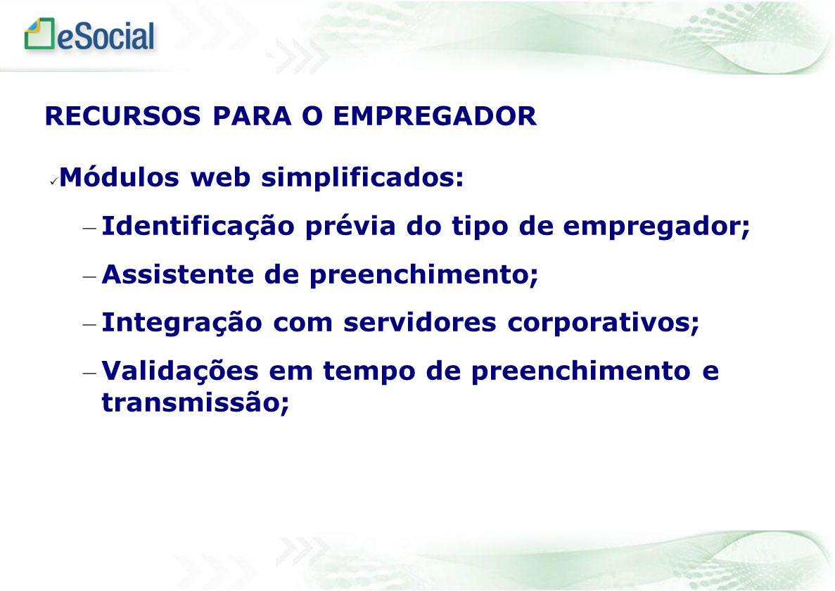 Módulos web simplificados: – Identificação prévia do tipo de empregador; – Assistente de preenchimento; – Integração com servidores corporativos; – Va