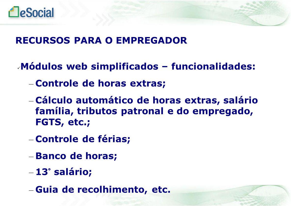 Módulos web simplificados – funcionalidades: – Controle de horas extras; – Cálculo automático de horas extras, salário família, tributos patronal e do