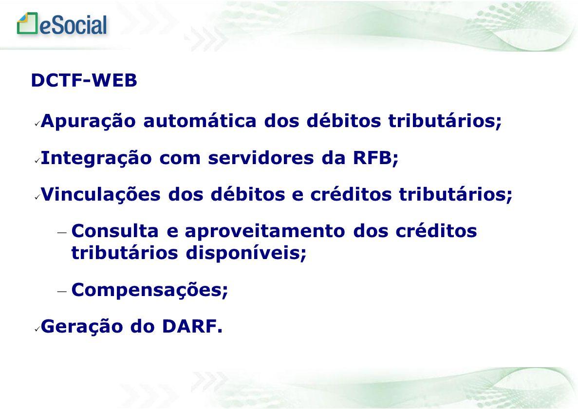 DCTF-WEB Apuração automática dos débitos tributários; Integração com servidores da RFB; Vinculações dos débitos e créditos tributários; – Consulta e a