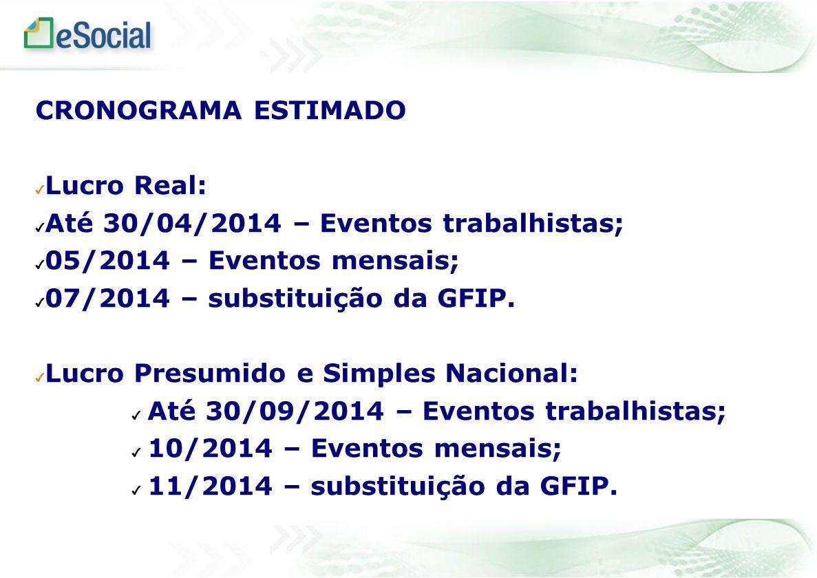 CRONOGRAMA ESTIMADO Lucro Real: Até 30/04/2014 – Eventos trabalhistas; 05/2014 – Eventos mensais; 07/2014 – substituição da GFIP. Lucro Presumido e Si
