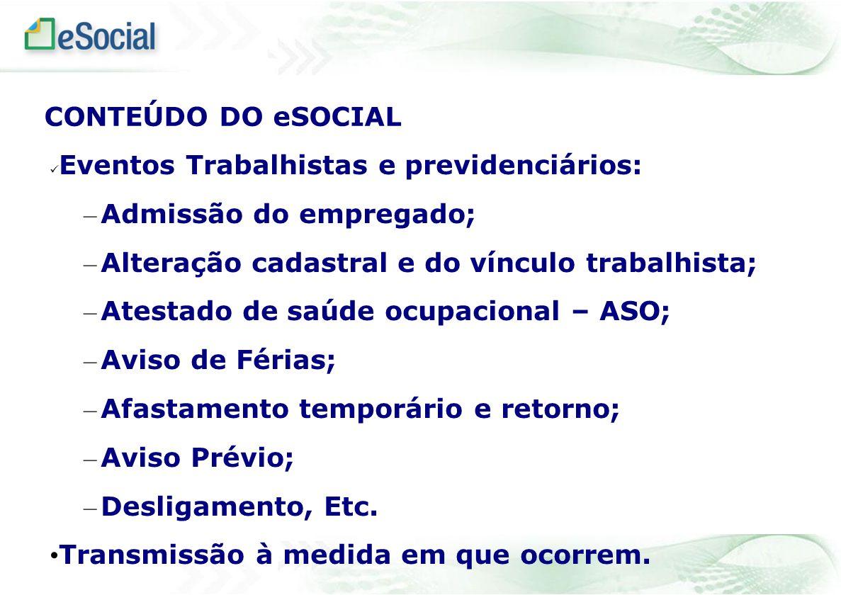 Eventos Trabalhistas e previdenciários: – Admissão do empregado; – Alteração cadastral e do vínculo trabalhista; – Atestado de saúde ocupacional – ASO