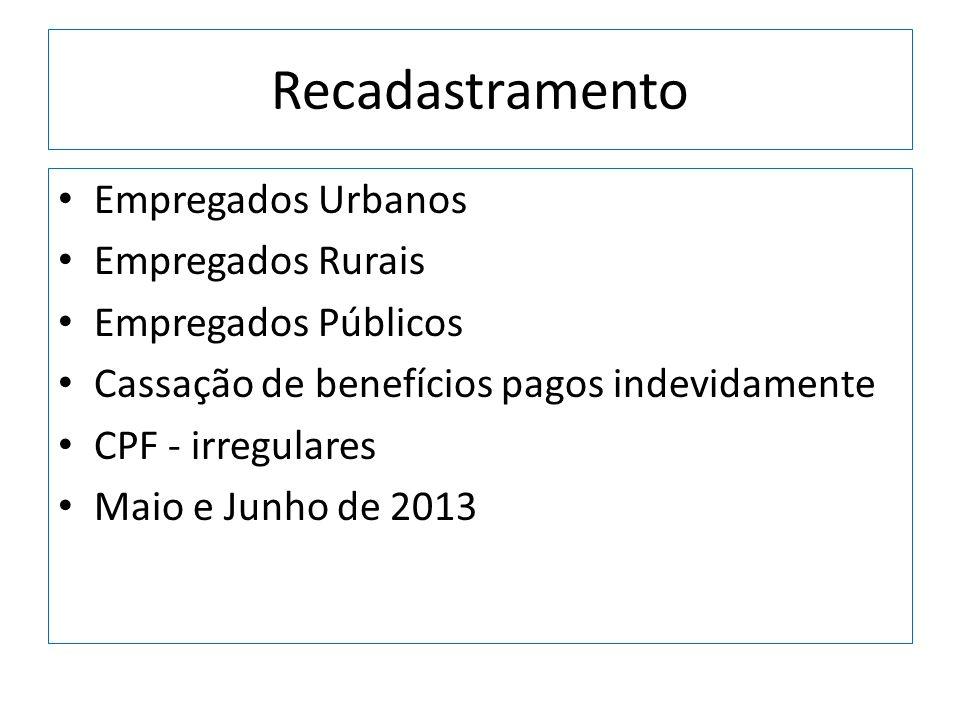 Recadastramento Empregados Urbanos Empregados Rurais Empregados Públicos Cassação de benefícios pagos indevidamente CPF - irregulares Maio e Junho de