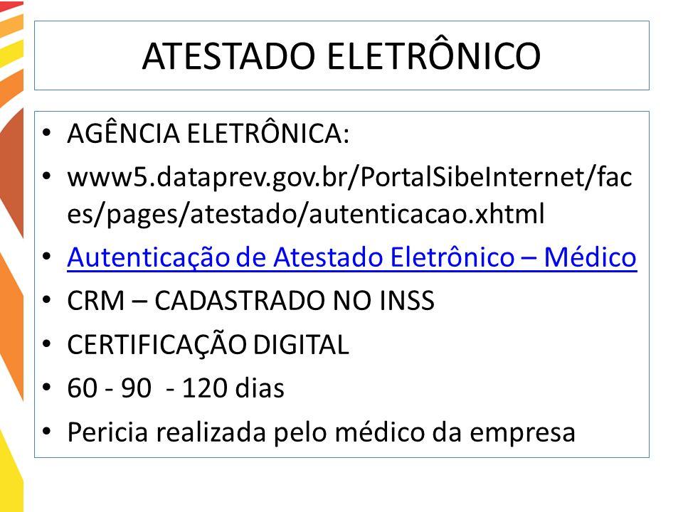 ATESTADO ELETRÔNICO AGÊNCIA ELETRÔNICA: www5.dataprev.gov.br/PortalSibeInternet/fac es/pages/atestado/autenticacao.xhtml Autenticação de Atestado Elet