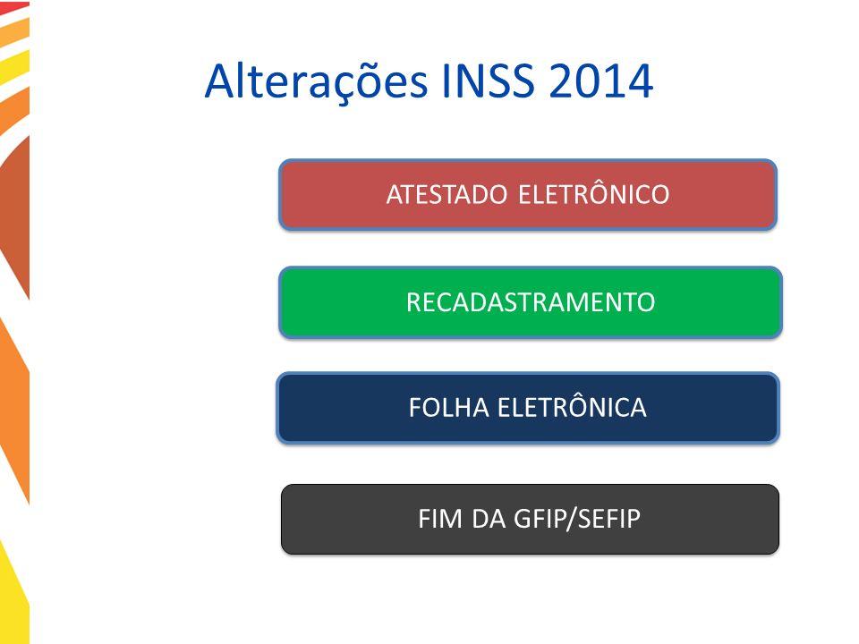 Alterações INSS 2014 ATESTADO ELETRÔNICORECADASTRAMENTOFOLHA ELETRÔNICAFIM DA GFIP/SEFIP