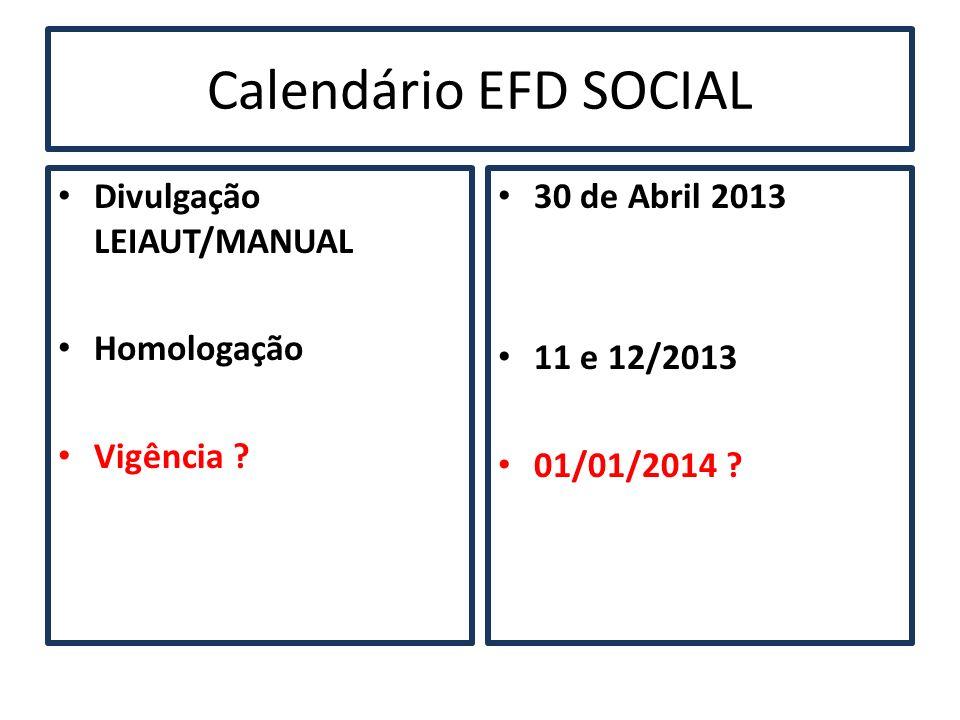 Calendário EFD SOCIAL Divulgação LEIAUT/MANUAL Homologação Vigência ? 30 de Abril 2013 11 e 12/2013 01/01/2014 ?