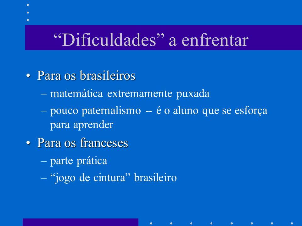 Dificuldades a enfrentar Para os brasileirosPara os brasileiros –matemática extremamente puxada –pouco paternalismo -- é o aluno que se esforça para a