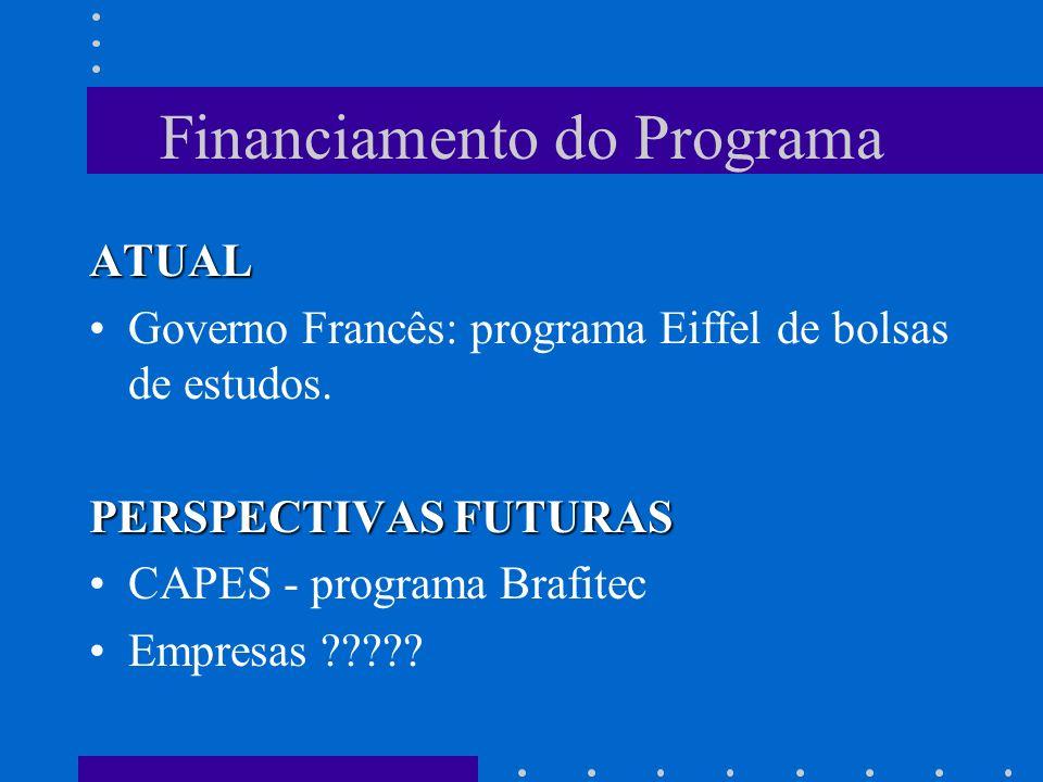 Financiamento do Programa ATUAL Governo Francês: programa Eiffel de bolsas de estudos. PERSPECTIVAS FUTURAS CAPES - programa Brafitec Empresas ?????