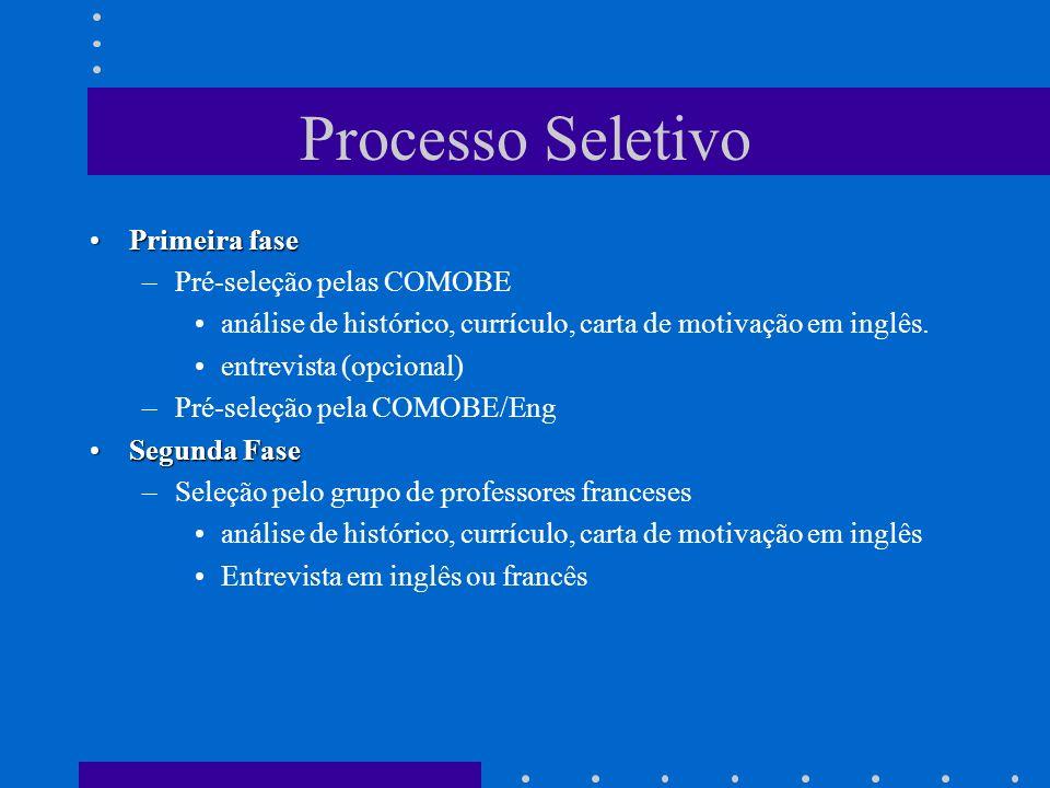 Processo Seletivo Primeira fasePrimeira fase –Pré-seleção pelas COMOBE análise de histórico, currículo, carta de motivação em inglês. entrevista (opci