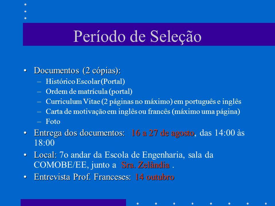 Período de Seleção Documentos (2 cópias):Documentos (2 cópias): –Histórico Escolar (Portal) –Ordem de matrícula (portal) –Curriculum Vitae (2 páginas