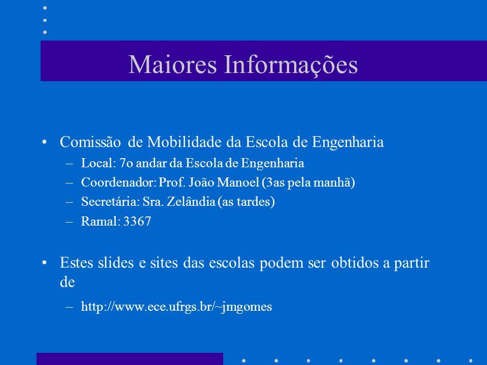 Maiores Informações Comissão de Mobilidade da Escola de Engenharia –Local: 7o andar da Escola de Engenharia –Coordenador: Prof. João Manoel (3as pela