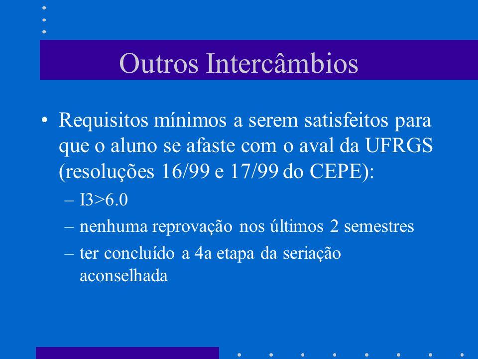 Outros Intercâmbios Requisitos mínimos a serem satisfeitos para que o aluno se afaste com o aval da UFRGS (resoluções 16/99 e 17/99 do CEPE): –I3>6.0