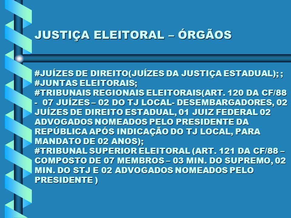 JUSTIÇA ELEITORAL – ÓRGÃOS #JUÍZES DE DIREITO(JUÍZES DA JUSTIÇA ESTADUAL); ; #JUNTAS ELEITORAIS; #TRIBUNAIS REGIONAIS ELEITORAIS(ART. 120 DA CF/88 - 0
