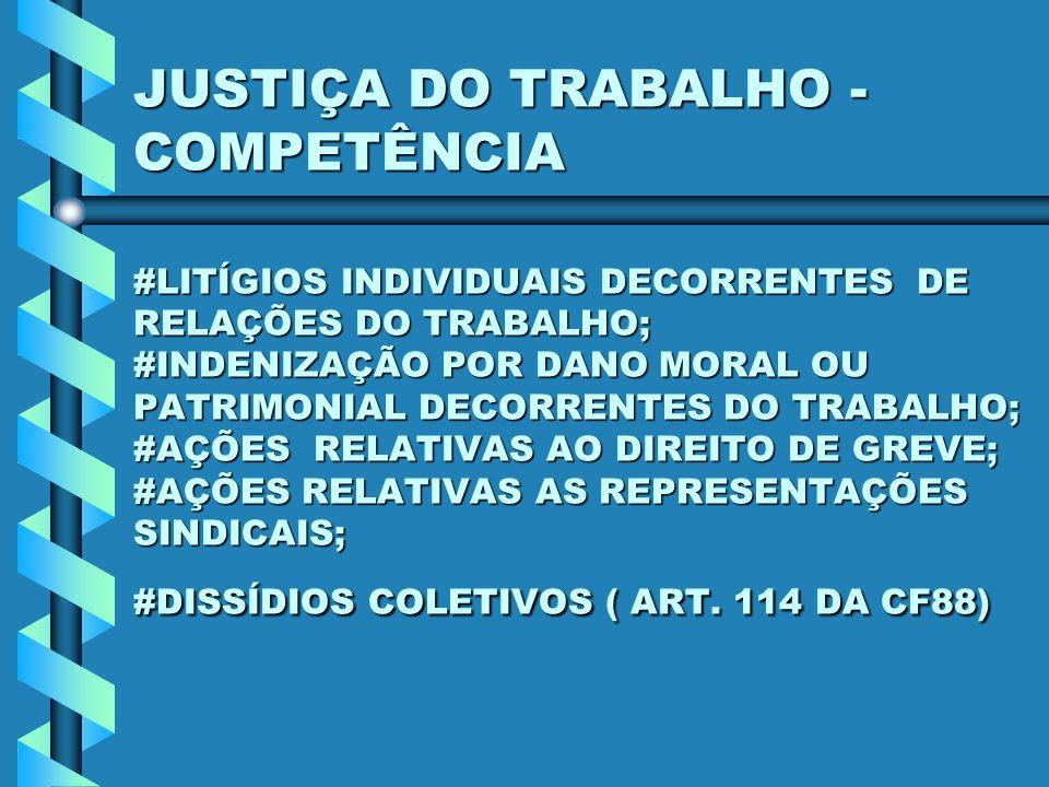 JUSTIÇA DO TRABALHO - COMPETÊNCIA #LITÍGIOS INDIVIDUAIS DECORRENTES DE RELAÇÕES DO TRABALHO; #INDENIZAÇÃO POR DANO MORAL OU PATRIMONIAL DECORRENTES DO