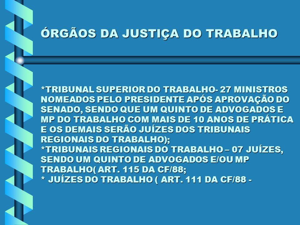ÓRGÃOS DA JUSTIÇA DO TRABALHO *TRIBUNAL SUPERIOR DO TRABALHO- 27 MINISTROS NOMEADOS PELO PRESIDENTE APÓS APROVAÇÃO DO SENADO, SENDO QUE UM QUINTO DE A
