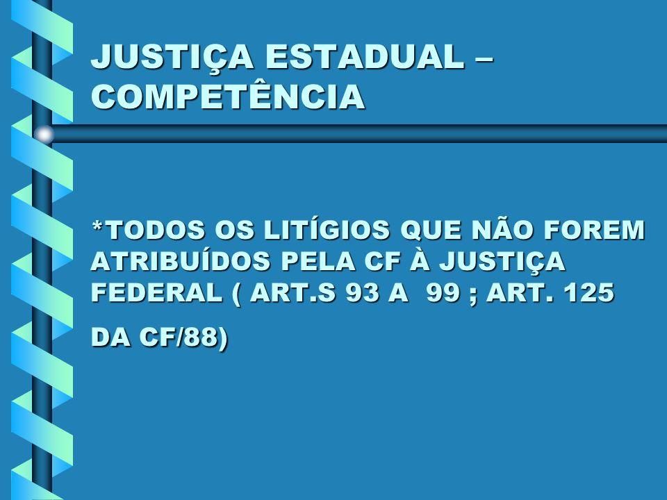 JUSTIÇA ESTADUAL – COMPETÊNCIA *TODOS OS LITÍGIOS QUE NÃO FOREM ATRIBUÍDOS PELA CF À JUSTIÇA FEDERAL ( ART.S 93 A 99 ; ART. 125 DA CF/88)