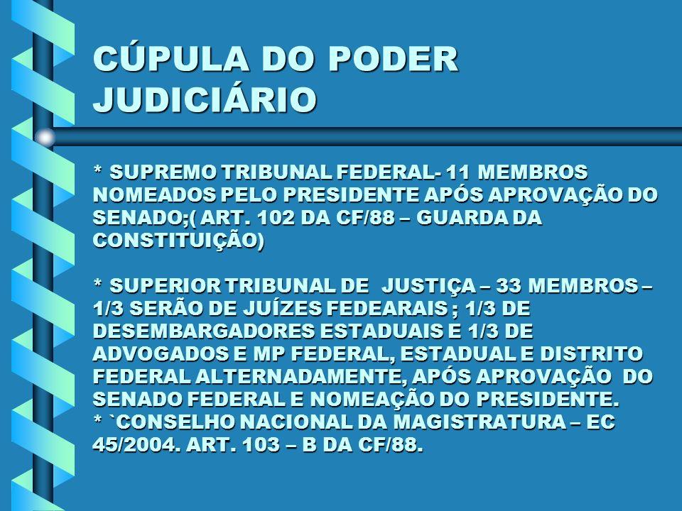 CÚPULA DO PODER JUDICIÁRIO * SUPREMO TRIBUNAL FEDERAL- 11 MEMBROS NOMEADOS PELO PRESIDENTE APÓS APROVAÇÃO DO SENADO;( ART. 102 DA CF/88 – GUARDA DA CO