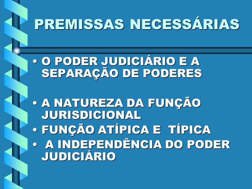 PREMISSAS NECESSÁRIAS O PODER JUDICIÁRIO E A SEPARAÇÃO DE PODERESO PODER JUDICIÁRIO E A SEPARAÇÃO DE PODERES A NATUREZA DA FUNÇÃO JURISDICIONALA NATUR