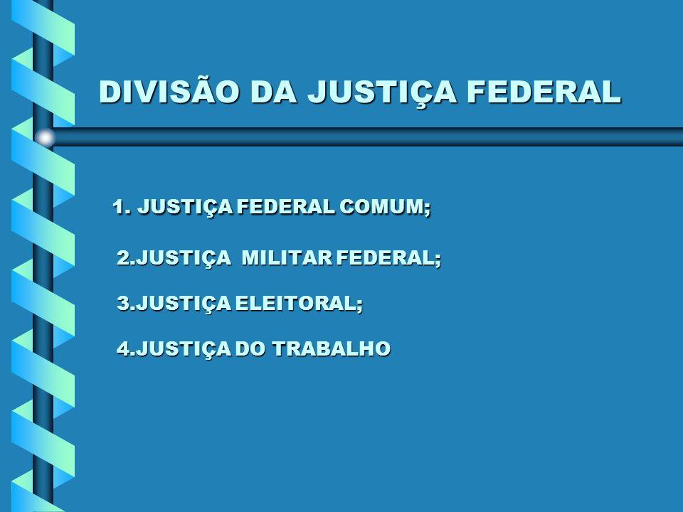 DIVISÃO DA JUSTIÇA FEDERAL 1. JUSTIÇA FEDERAL COMUM; 2.JUSTIÇA MILITAR FEDERAL; 3.JUSTIÇA ELEITORAL; 4.JUSTIÇA DO TRABALHO