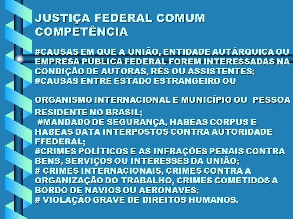 JUSTIÇA FEDERAL COMUM COMPETÊNCIA #CAUSAS EM QUE A UNIÃO, ENTIDADE AUTÁRQUICA OU EMPRESA PÚBLICA FEDERAL FOREM INTERESSADAS NA CONDIÇÃO DE AUTORAS, RÉ