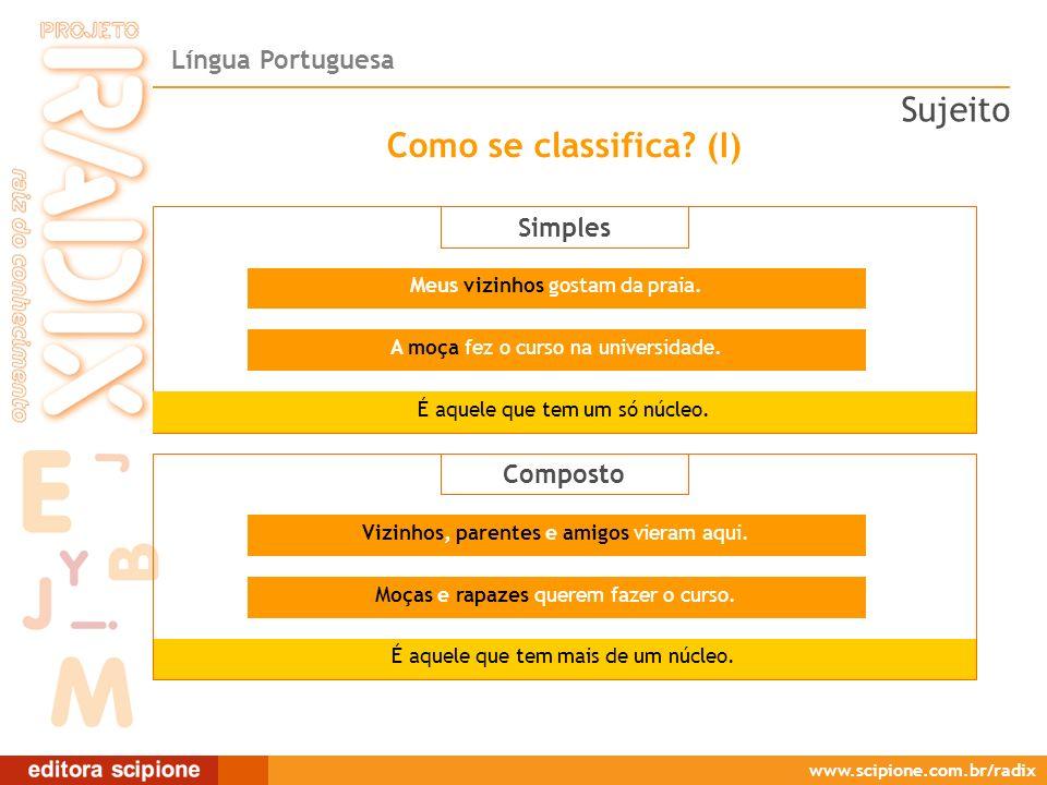 Língua Portuguesa www.scipione.com.br/radix Como se classifica? (I) Simples É aquele que tem um só núcleo. É aquele que tem mais de um núcleo. Meus vi