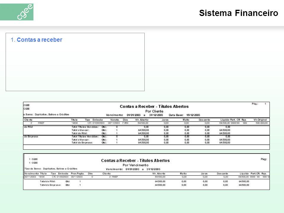 Sistema Financeiro 1. Contas a receber