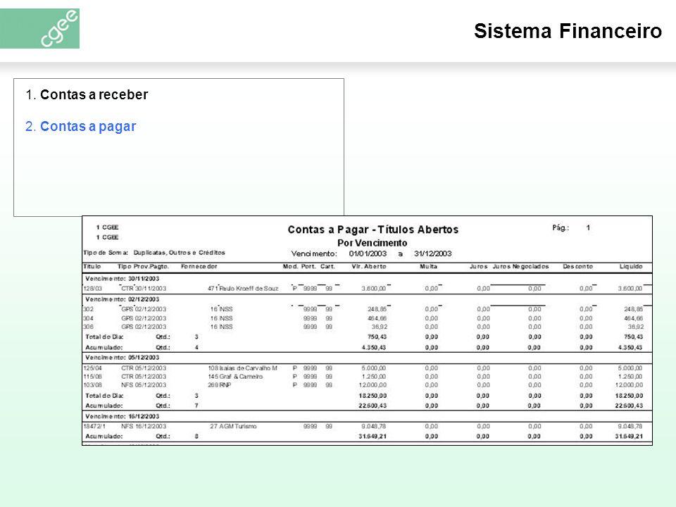 Sistema Financeiro 1. Contas a receber 2. Contas a pagar