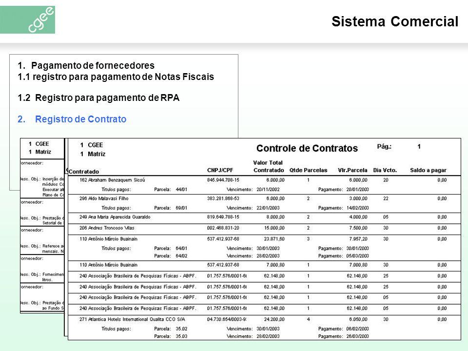 Sistema Comercial 1.2 Registro para pagamento de RPA 1.Pagamento de fornecedores 1.1 registro para pagamento de Notas Fiscais 2.
