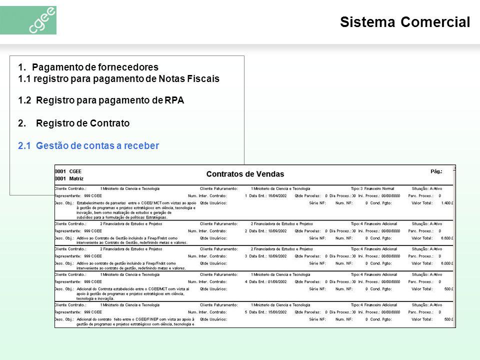 Sistema Comercial 1.2 Registro para pagamento de RPA 2.
