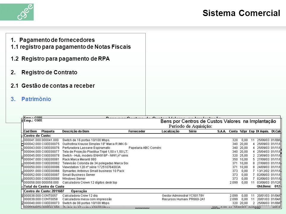 Sistema Comercial 3. Patrimônio 1.2 Registro para pagamento de RPA 2.