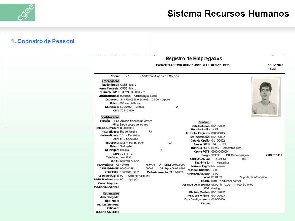 Sistema Recursos Humanos 1. Cadastro de Pessoal