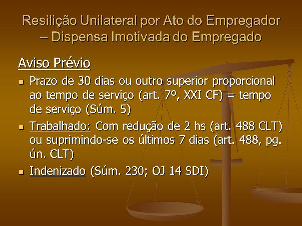 Resilição Unilateral por Ato do Empregador – Dispensa Imotivada do Empregado Aviso Prévio Prazo de 30 dias ou outro superior proporcional ao tempo de serviço (art.
