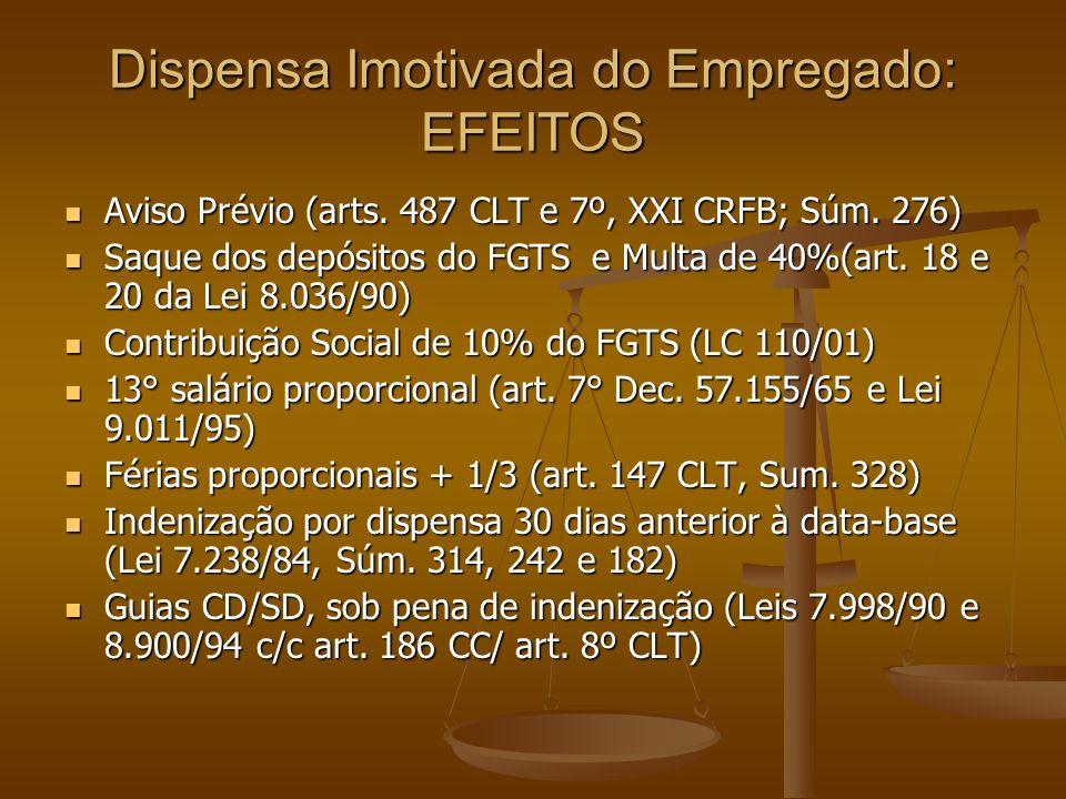 Dispensa Imotivada do Empregado: EFEITOS Aviso Prévio (arts. 487 CLT e 7º, XXI CRFB; Súm. 276) Aviso Prévio (arts. 487 CLT e 7º, XXI CRFB; Súm. 276) S
