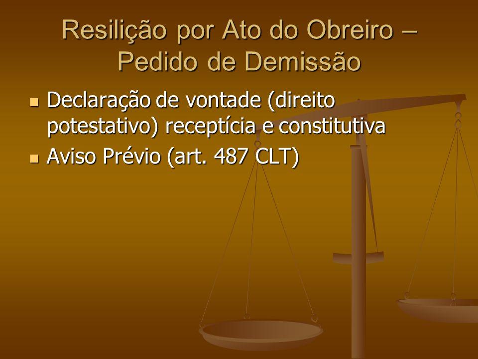 Resilição por Ato do Obreiro – Pedido de Demissão Declaração de vontade (direito potestativo) receptícia e constitutiva Declaração de vontade (direito potestativo) receptícia e constitutiva Aviso Prévio (art.