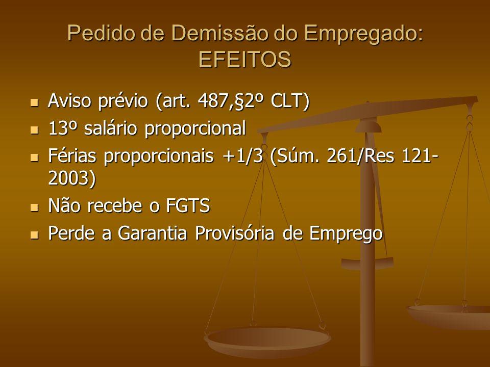 Pedido de Demissão do Empregado: EFEITOS Aviso prévio (art. 487,§2º CLT) Aviso prévio (art. 487,§2º CLT) 13º salário proporcional 13º salário proporci