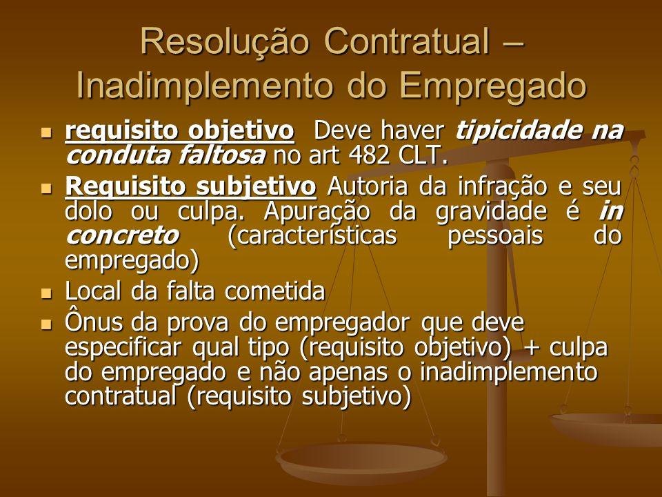 Resolução Contratual – Inadimplemento do Empregado requisito objetivo Deve haver tipicidade na conduta faltosa no art 482 CLT.