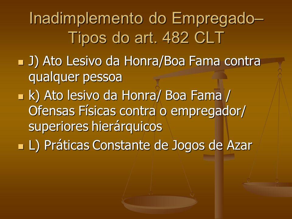Inadimplemento do Empregado– Tipos do art. 482 CLT J) Ato Lesivo da Honra/Boa Fama contra qualquer pessoa J) Ato Lesivo da Honra/Boa Fama contra qualq