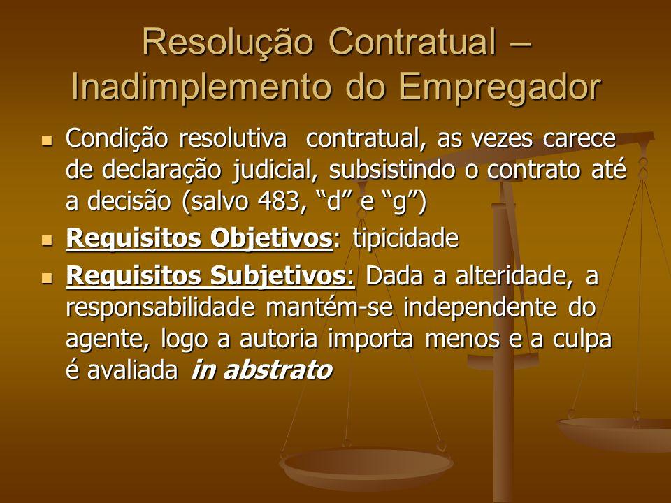Resolução Contratual – Inadimplemento do Empregador Condição resolutiva contratual, as vezes carece de declaração judicial, subsistindo o contrato até a decisão (salvo 483, d e g) Condição resolutiva contratual, as vezes carece de declaração judicial, subsistindo o contrato até a decisão (salvo 483, d e g) Requisitos Objetivos: tipicidade Requisitos Objetivos: tipicidade Requisitos Subjetivos: Dada a alteridade, a responsabilidade mantém-se independente do agente, logo a autoria importa menos e a culpa é avaliada in abstrato Requisitos Subjetivos: Dada a alteridade, a responsabilidade mantém-se independente do agente, logo a autoria importa menos e a culpa é avaliada in abstrato