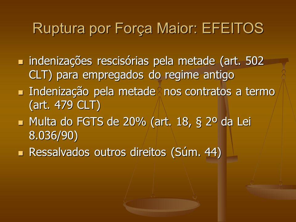 Ruptura por Força Maior: EFEITOS indenizações rescisórias pela metade (art. 502 CLT) para empregados do regime antigo indenizações rescisórias pela me