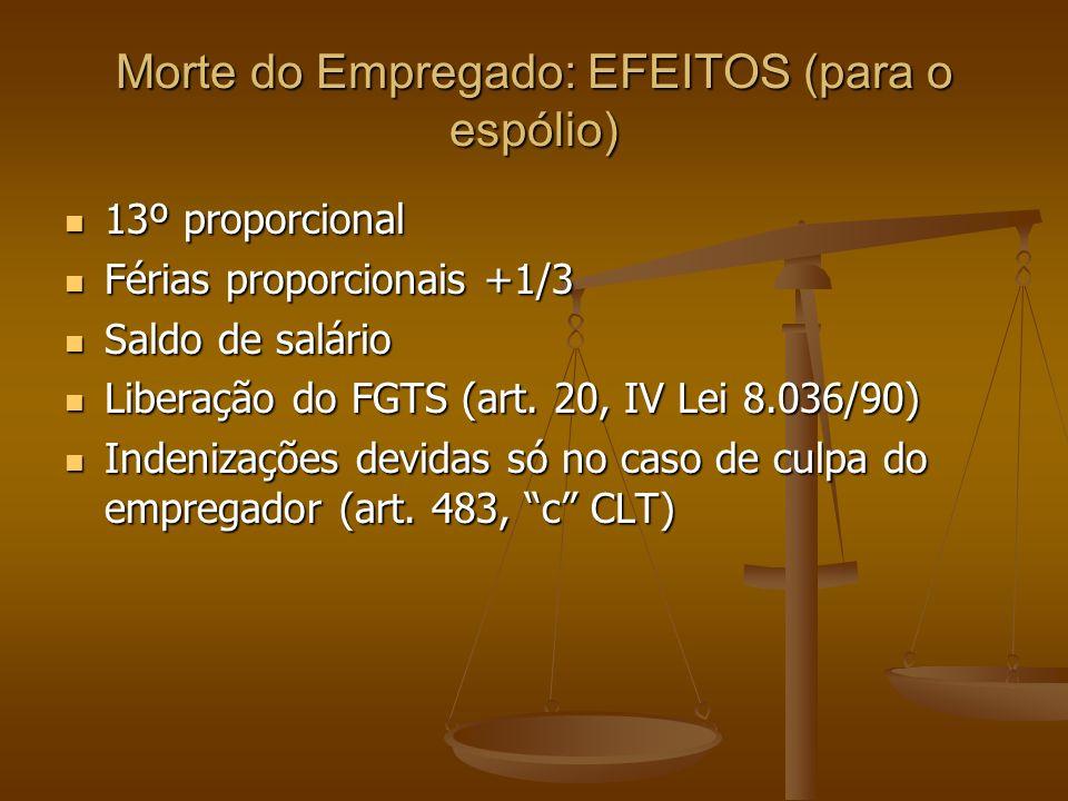 Morte do Empregado: EFEITOS (para o espólio) 13º proporcional 13º proporcional Férias proporcionais +1/3 Férias proporcionais +1/3 Saldo de salário Sa