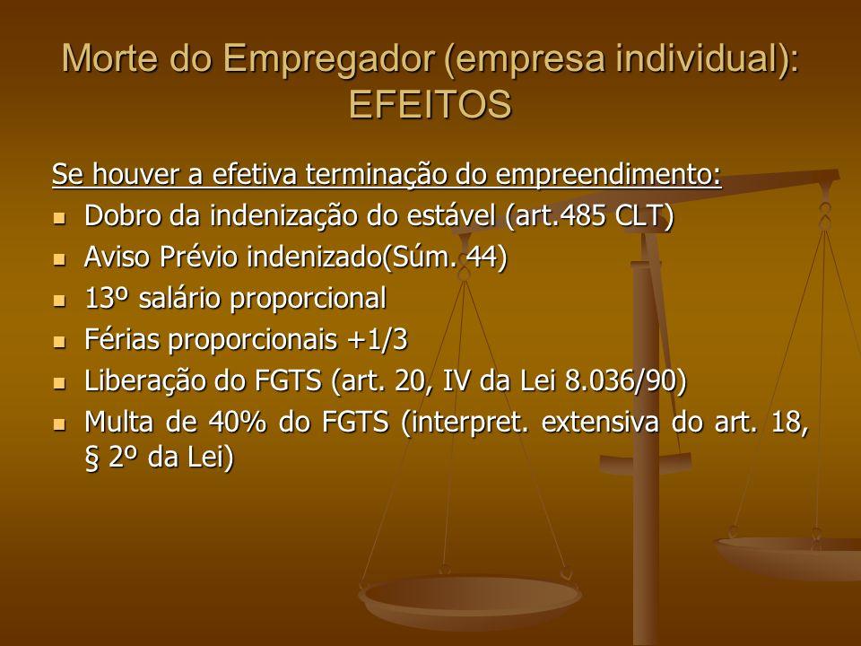 Morte do Empregador (empresa individual): EFEITOS Se houver a efetiva terminação do empreendimento: Dobro da indenização do estável (art.485 CLT) Dobr