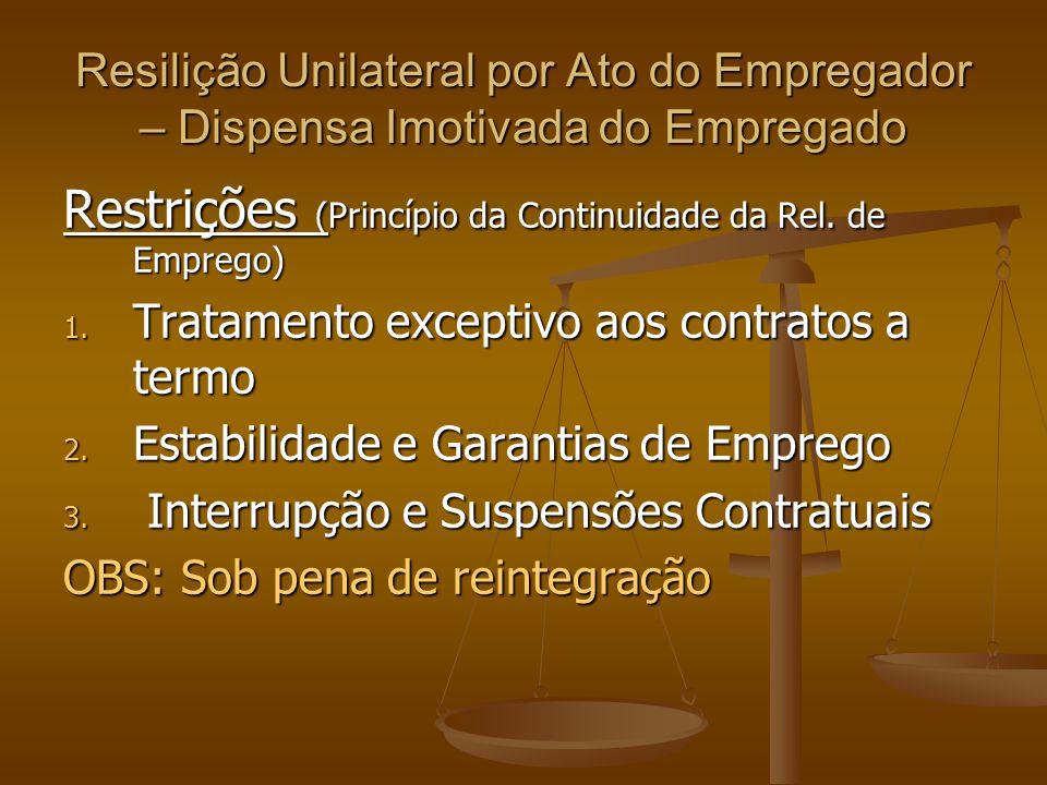 Resilição Unilateral por Ato do Empregador – Dispensa Imotivada do Empregado Restrições (Princípio da Continuidade da Rel. de Emprego) 1. Tratamento e