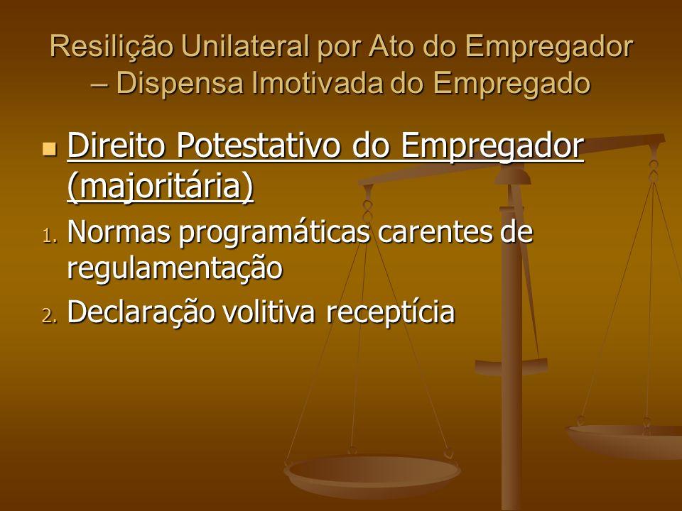 Resilição Unilateral por Ato do Empregador – Dispensa Imotivada do Empregado Direito Potestativo do Empregador (majoritária) Direito Potestativo do Em