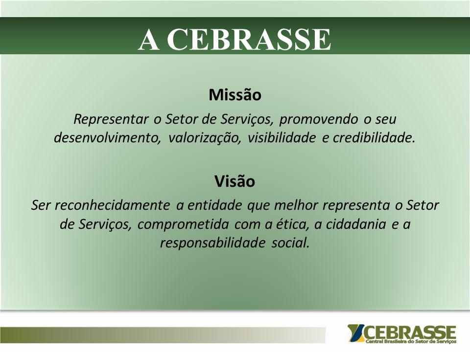A CEBRASSE Missão Representar o Setor de Serviços, promovendo o seu desenvolvimento, valorização, visibilidade e credibilidade. Visão Ser reconhecidam