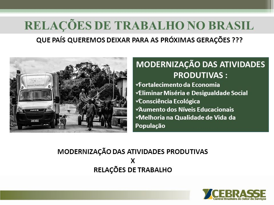RELAÇÕES DE TRABALHO NO BRASIL MODERNIZAÇÃO DAS ATIVIDADES PRODUTIVAS : Fortalecimento da Economia Eliminar Miséria e Desigualdade Social Consciência