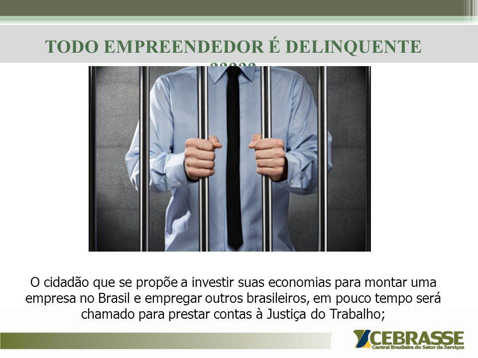 TODO EMPREENDEDOR É DELINQUENTE ????? O cidadão que se propõe a investir suas economias para montar uma empresa no Brasil e empregar outros brasileiro
