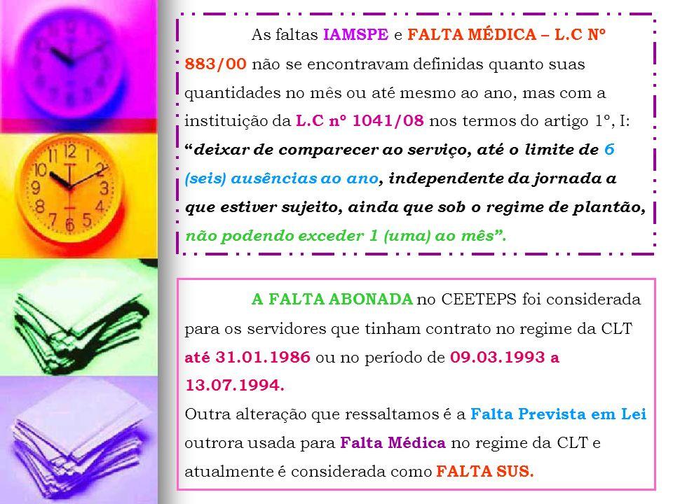 As faltas IAMSPE e FALTA MÉDICA – L.C Nº 883/00 não se encontravam definidas quanto suas quantidades no mês ou até mesmo ao ano, mas com a instituição