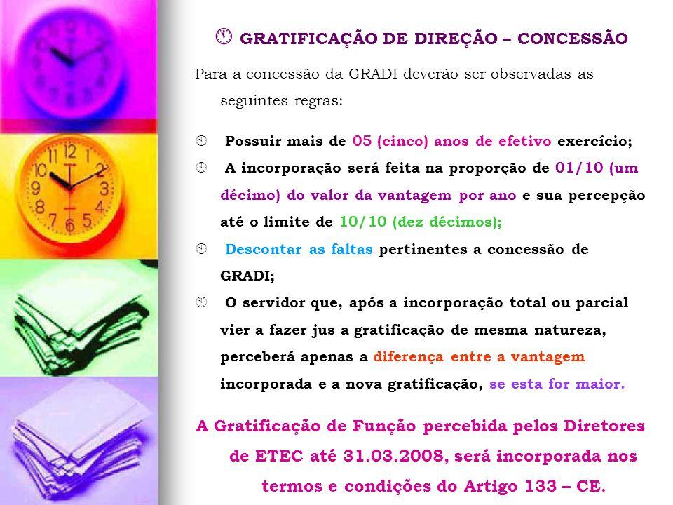 GRATIFICAÇÃO DE DIREÇÃO – CONCESSÃO Para a concessão da GRADI deverão ser observadas as seguintes regras: Possuir mais de 05 (cinco) anos de efetivo e
