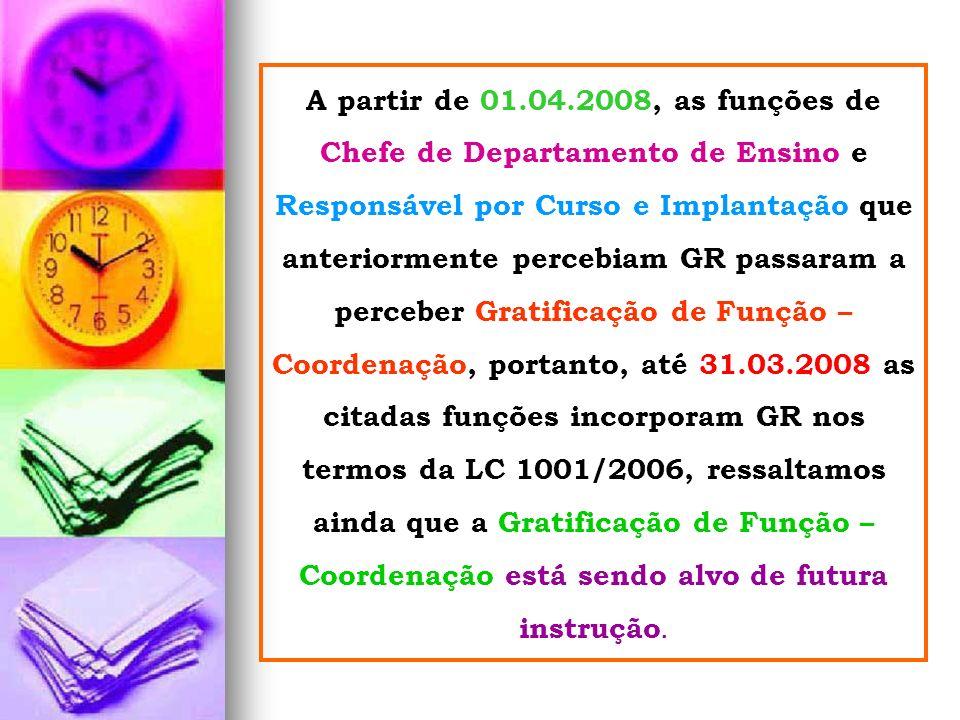 A partir de 01.04.2008, as funções de Chefe de Departamento de Ensino e Responsável por Curso e Implantação que anteriormente percebiam GR passaram a