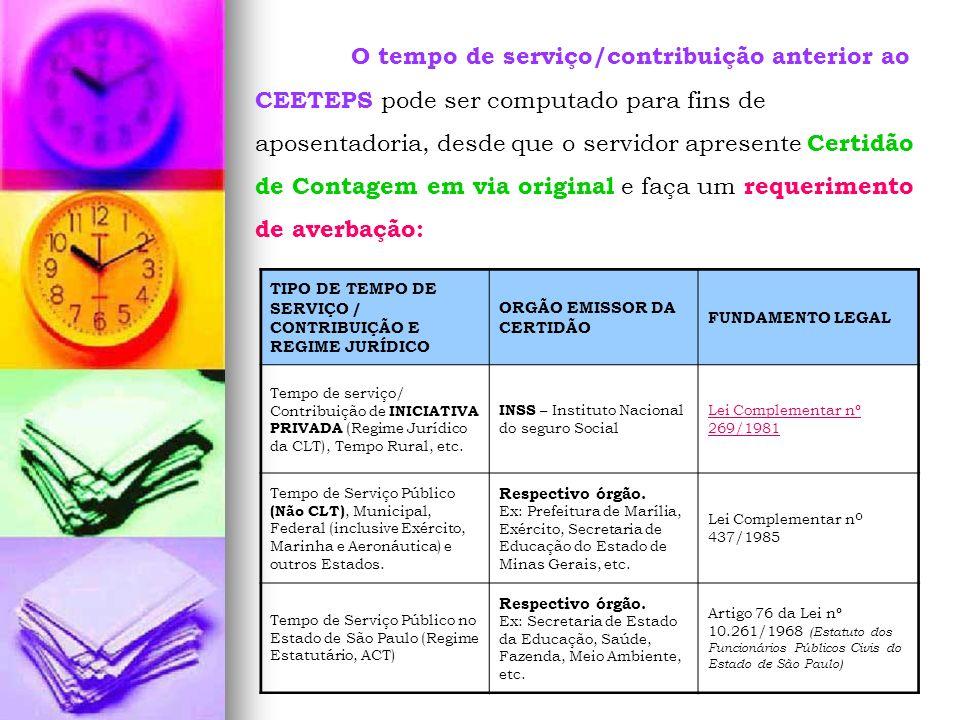 O tempo de serviço/contribuição anterior ao CEETEPS pode ser computado para fins de aposentadoria, desde que o servidor apresente Certidão de Contagem